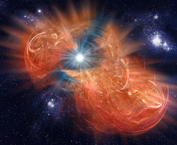 An artist's visualization of a birth of a white dwarf
