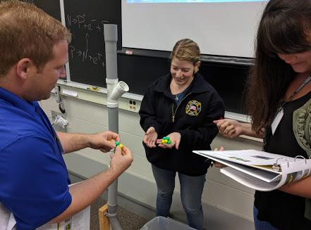 Magnetic marble activity with teachers